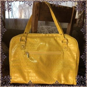 Yellow Patent Leather Computer Bag w/Velvet Lining